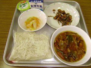 学校給食のソフト麺