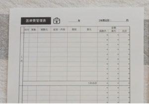 家計簿の医療費管理表