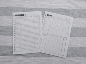 家計簿の両面印刷、ルーズリーフ印刷