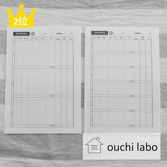 うり家計簿・医療費管理表