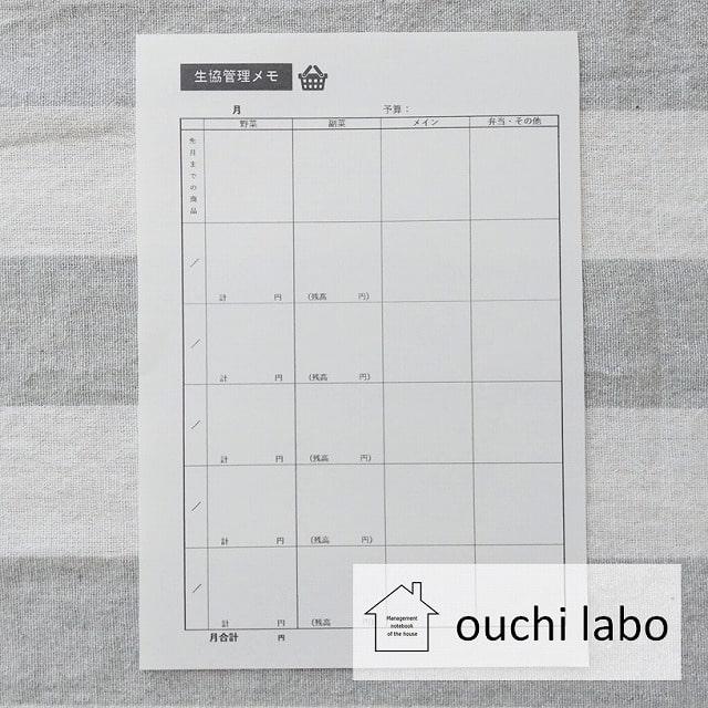うり家計簿・生協管理メモ