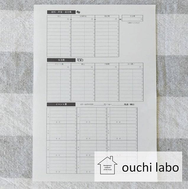 うり家計簿・予算シート